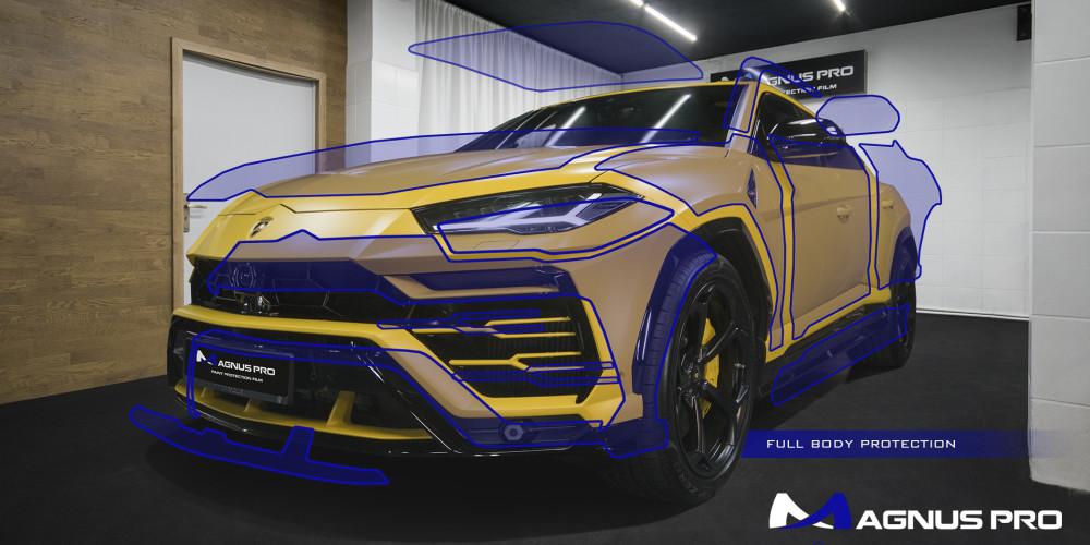 Lamborghini Urus zabezpieczony matową folią ochronną Magnus Pro®